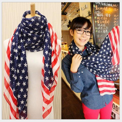 Women's American Stars And Stripes Flag Printed European Style Fleeciness Fashion Temperament All-match Scarf For Girls WJ012(China (Mainland))