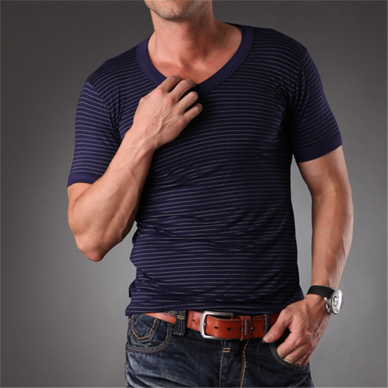 Azel high quality blank v neck eco friendly striped t for Bamboo fiber t shirt