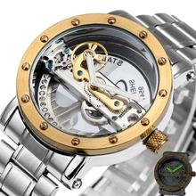 Top Luxury Selling Golden Bridge Men's Watch Skeleton Self-Wind Mechanical Wristwatch Stainless Steel Strap Dress Business Style