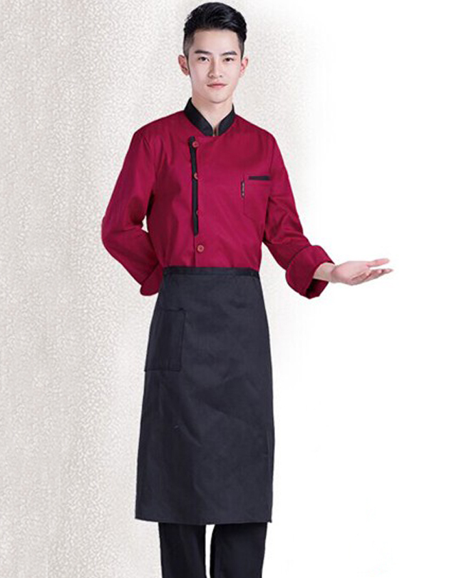 2016 New Chef Jacket Red, White, Black . Long Sleeve Stand Collar Sushi Japese Chef Uniforms(China (Mainland))