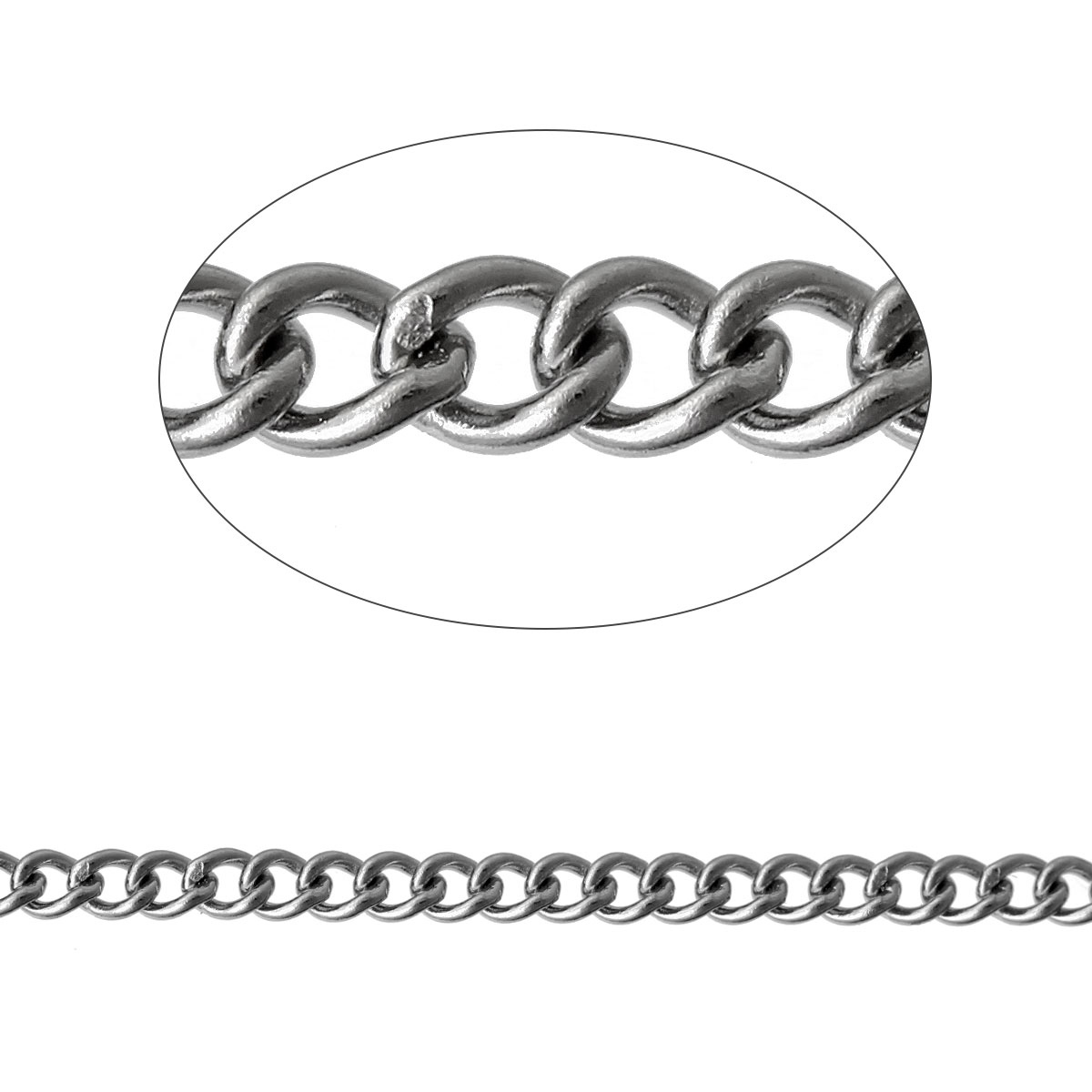 "304 Stainless Steel Link Curb Chain Findings Oval Silver Tone 2.5mm( 1/8"") x 2mm( 1/8""), 1 M 2016 new(China (Mainland))"