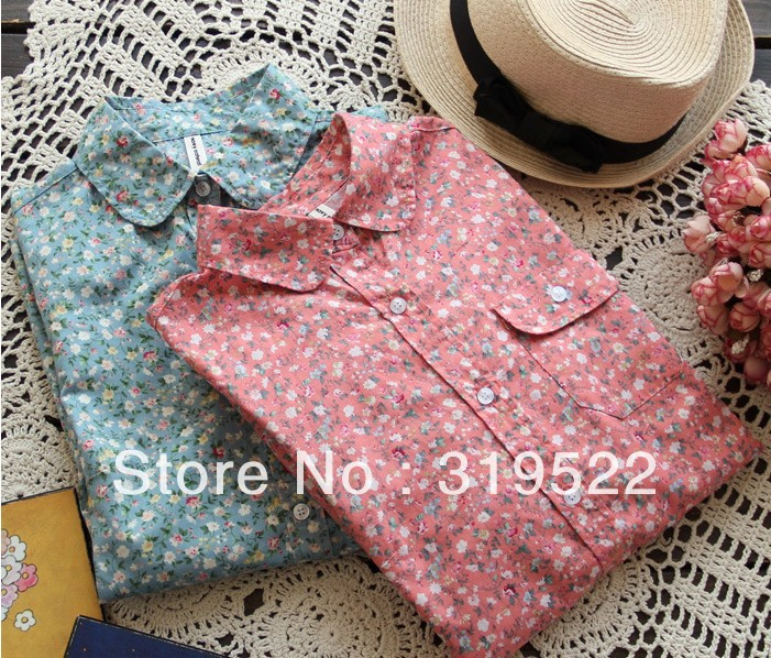 2014 new style dropshpping long sleeve flowers print vintage girl pocket floral cotton blouse stable stock shirt YK12(China (Mainland))
