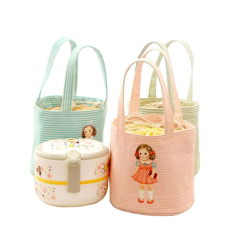 Newest 2017 Little Girl Pattern Thermal Cooler Insulated Bento Pouch Lunch Bags Portable Organizer Lunch Storage