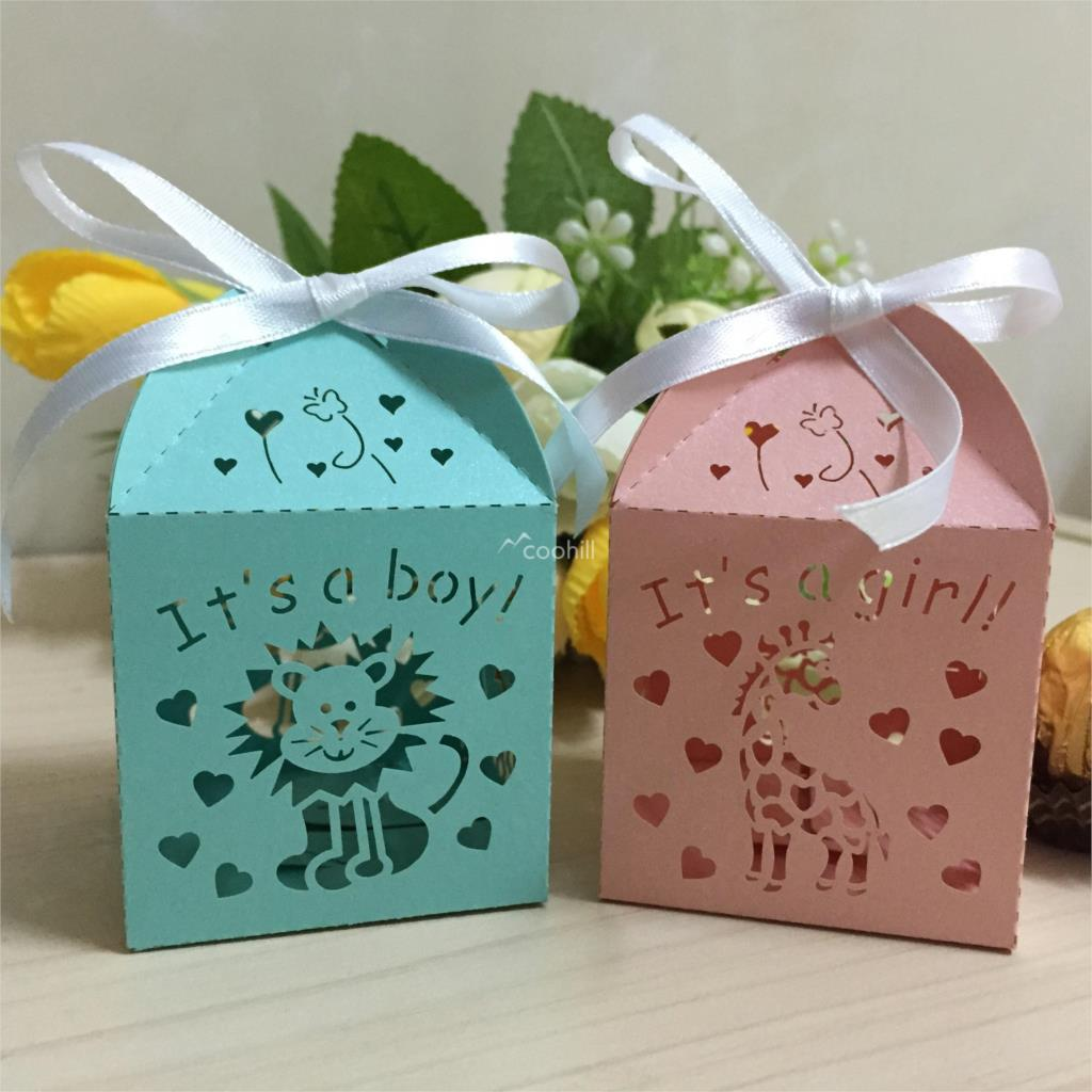 Boxes For Baby Shower Favors: 50xLaser Cut Lion It Is A Boy Baby Shower Favors Candy