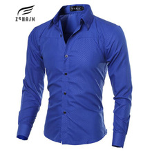 Buy Fashion Men Shirt Brand Dark Lattice Mens Business Shirts Breathable Fit Shirt Casual Long Sleeve Dress Shirts Solid Large Size for $6.93 in AliExpress store