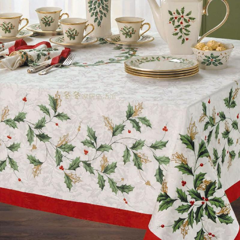 Europe and the United States LENOX HOLIDAY Christmas leaf authentic American cloth rural tablecloth fabric tea table cloth(China (Mainland))