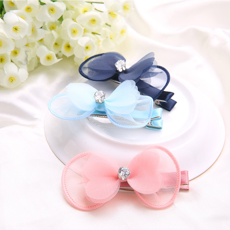 Casual Cute Simple Style Cloth Barrette Hair Clip Big Solid Bow Round Hairpin Girls Hair Colourful Accessories forWomen(China (Mainland))