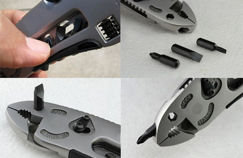 Buy New Camping Survival Knife Gear Multi-tool EDC Set Adjustable Wrench Jaw Screwdriver Pliers Tools Hunting Accessories cheap