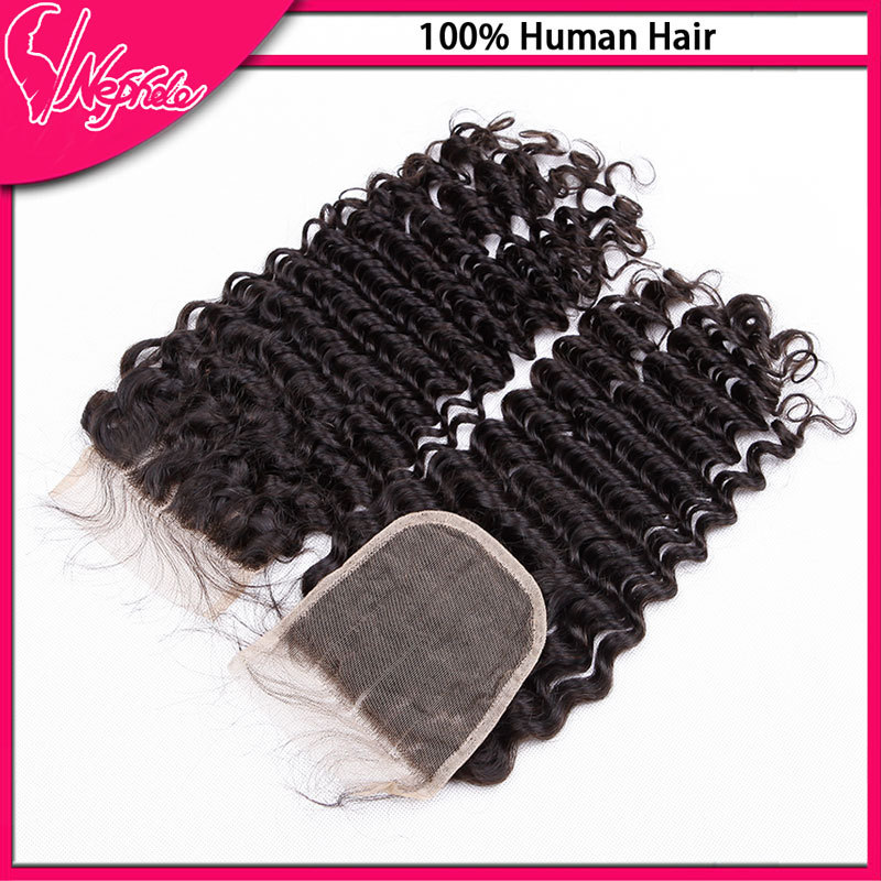 DHL free Shipping 7A brazilian Deep Curly virgin hair lace closure,1 piece human hair closure 4x4 middle/free/side/three/3 part(China (Mainland))