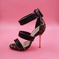 Black Lepoard Sandal For Women Thin High Heels Stilettos Back Zipper Custom US4 14 Made to