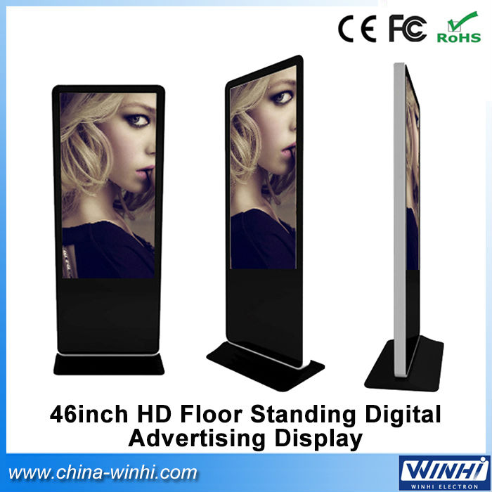 46 inch rolling caption full hd floor standing totem advertising kiosk digital signage(China (Mainland))