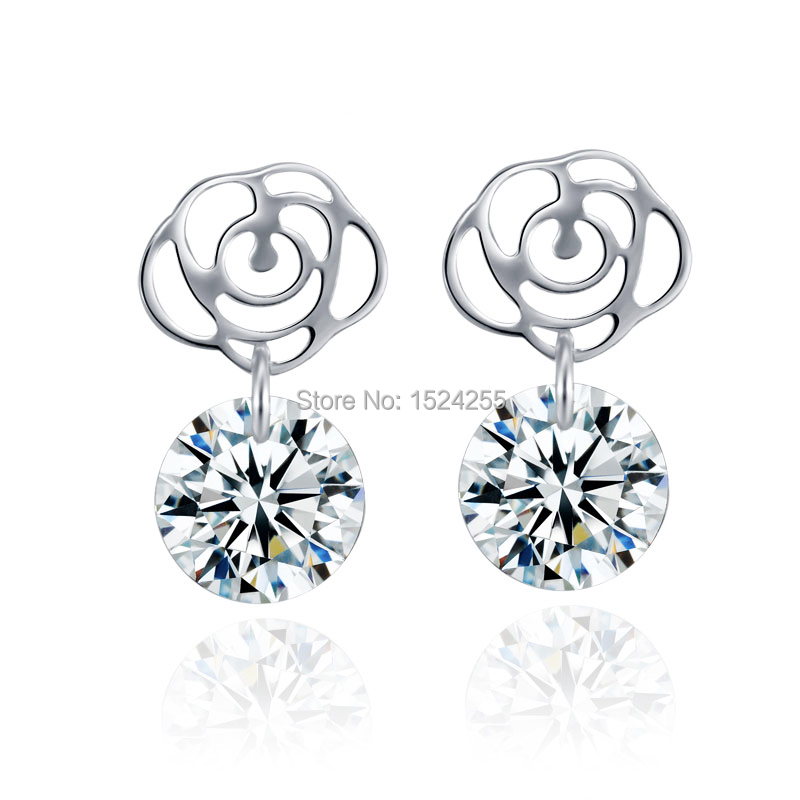 Silver jewelry 100% Genuine Silver Rose Design Earring studs for Women(China (Mainland))