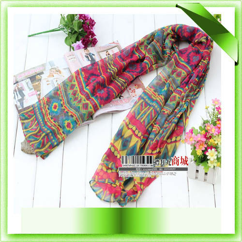 2016 New Fashion Women Malaysia Bohemian Cotton Voile Aztec Tribal Scarf Hijab