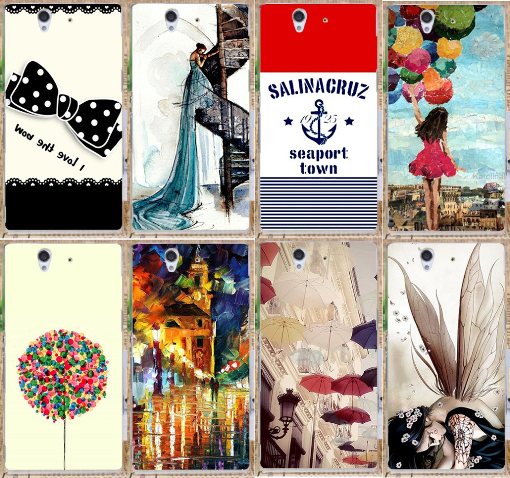 Beautiful Umbrella Painted street Romantic Girls hard cover case for Sony Xperia Z l36h l36i c6603 c6602 c6601 protective case(China (Mainland))