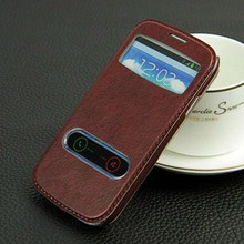 Double View Window Leather PU Flip Case for Samsung S3 I9300 Cover Siii Stand Skin Swipe To Accept / Reject Incoming Call PY(China (Mainland))
