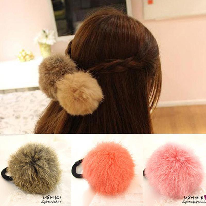 Hot Sale Korean Style Girls Cute Trendy Soft Fake Rabbit Fur Elastic Hair Rope Hair Band Hair Accessories(China (Mainland))
