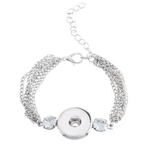 5*1PC Child Snap Bracelet Fit Snap Button Chain Resin Rhinestone Silver 15.5cm New Wholesale Fine Jewelry(China (Mainland))