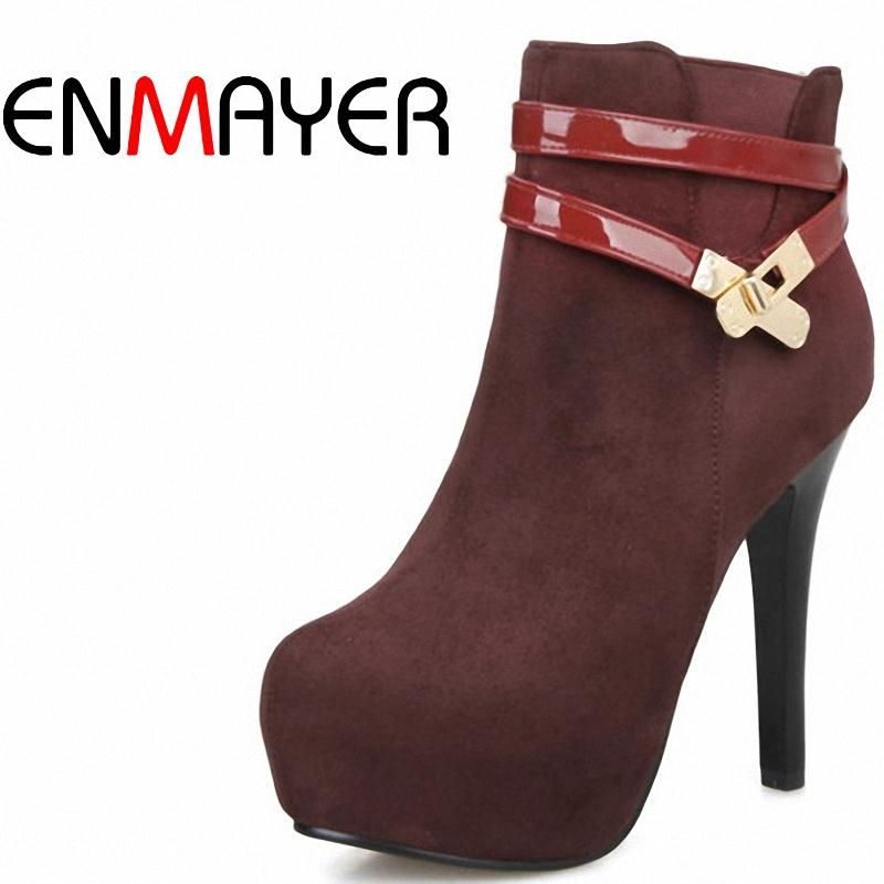 ENMAYER New Autumn Black Winter boots sexy fashion motorcycle women boots size 34-40 motorcycle boots for women thigh high boots<br><br>Aliexpress