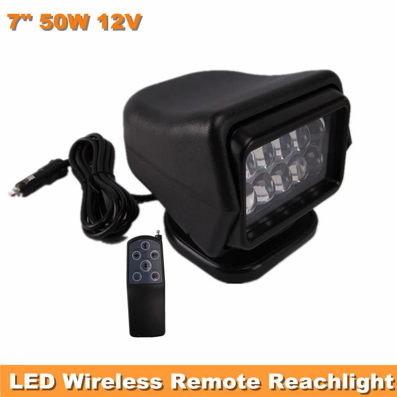 50W 12V 7'' CREE LED REMOTE CONTROLLER SPOTLIGHT,WIRELESS LED SEARCH LIGHT, FOR FISHING HUNTING BOAT MARINE OFF ROAD USE SUV 12V(China (Mainland))