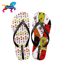 Hotmarzz Women Summer Fashion Slippers Beach Flip Flops Shoes Woman Poker Cards Ladies Thong Sandals 2017 House Slippers Slides(China (Mainland))