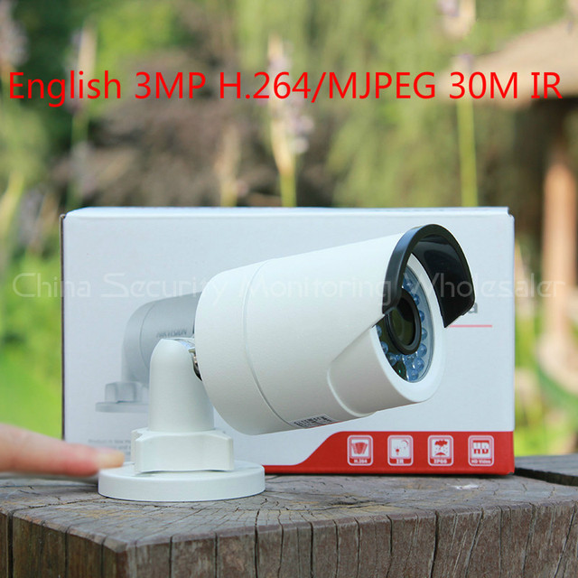 with WiFi 3MP Mini Bullet Camera DS-2CD2032F-IW Original English camera Network IP camera IP66 CCTV Camera IP Camera IR 30M POE