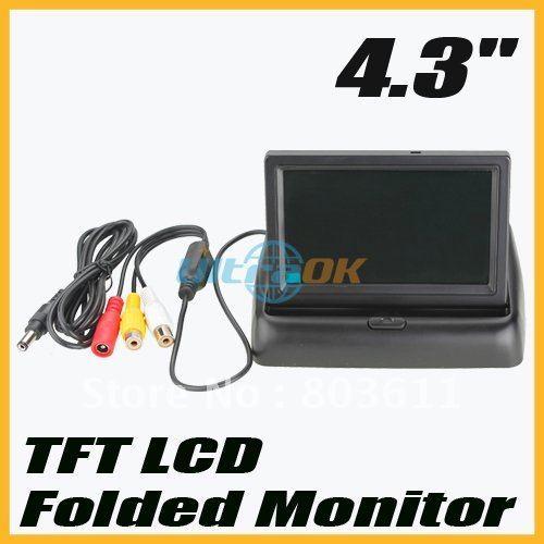 "new 4.3"" TFT LCD Mini Car Auto Monitor Folded Security Camera Black free shipping"