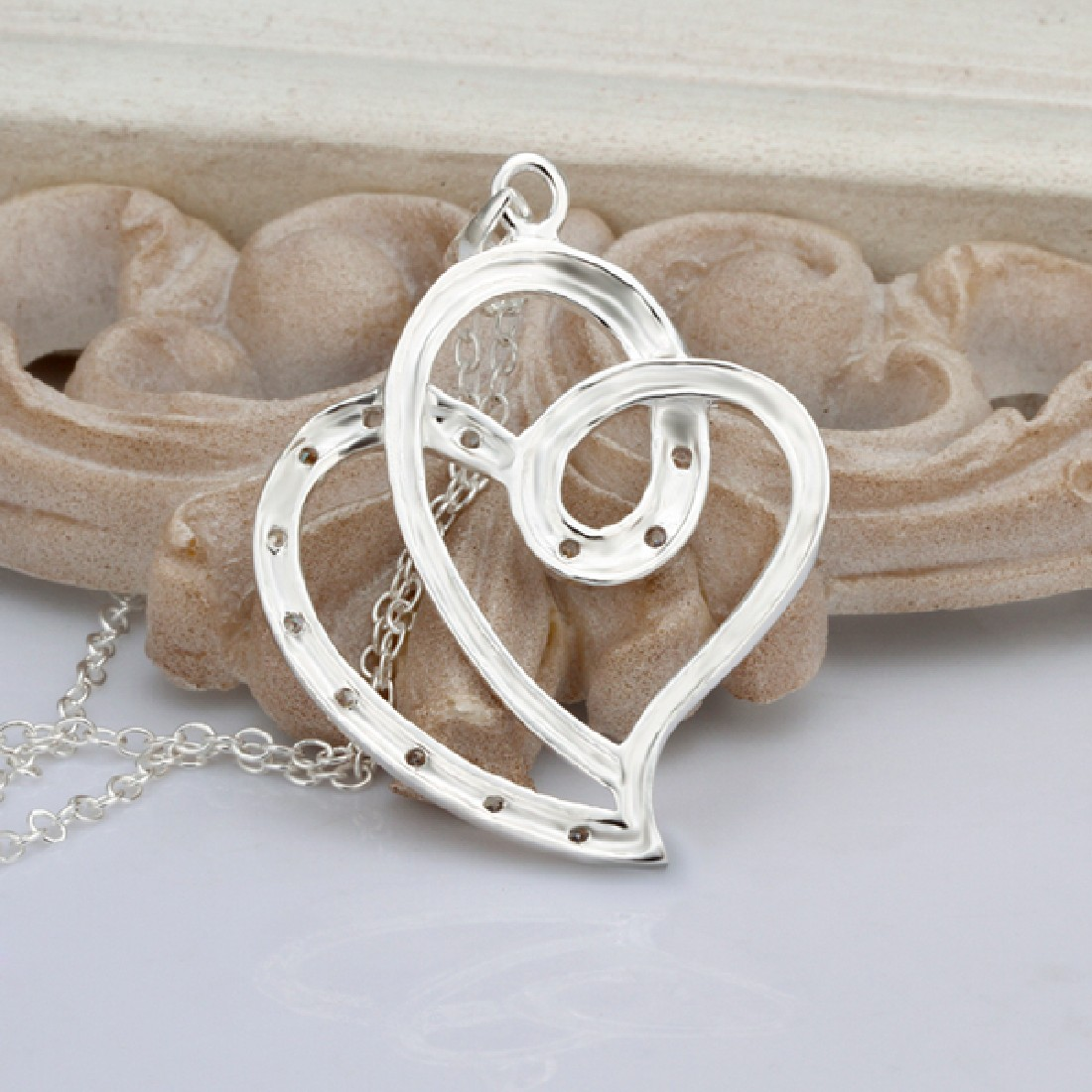 elegant fashion jewelry new silver plated necklace twist double hearts pendant(China (Mainland))