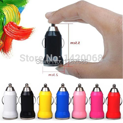 Coloful Micro USB Car Charger cargador de coche For Phone Mini Cigarette Lighter Laptop battery wholesale(China (Mainland))