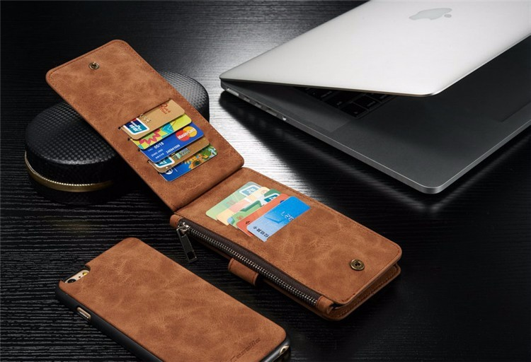 Retro Folded Wallet Case for iPhone 6 6S for iPhone 6 Plus 6S Plus 2 in 1 Second Layer Leather Cover Case for iphone6 Flip Stand