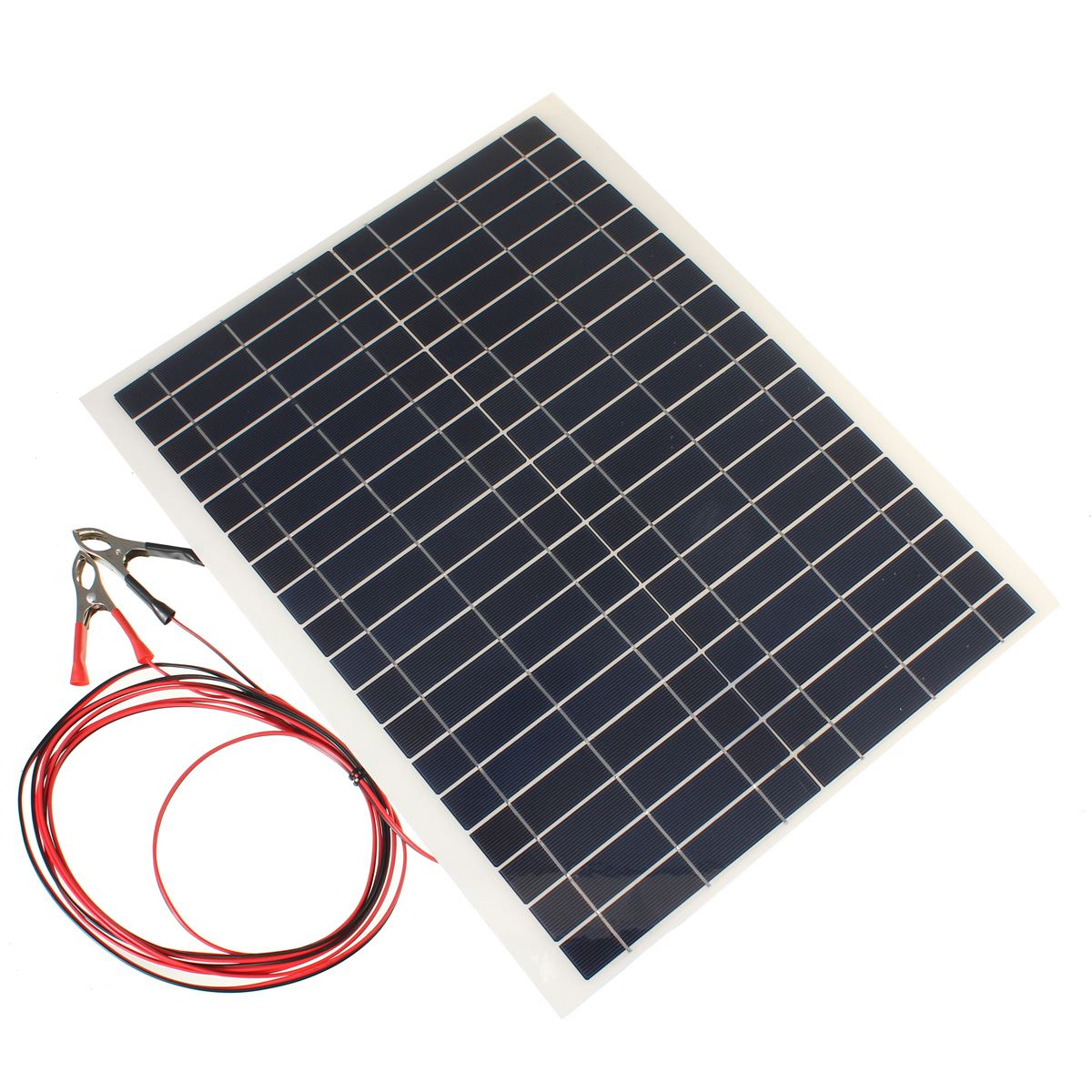 Hot Sale 20W 12V PolyCrystalline Epoxy Cells Solar Panel DIY Solar Module Battery Power Charger+2x Alligator Clips+4m Cable