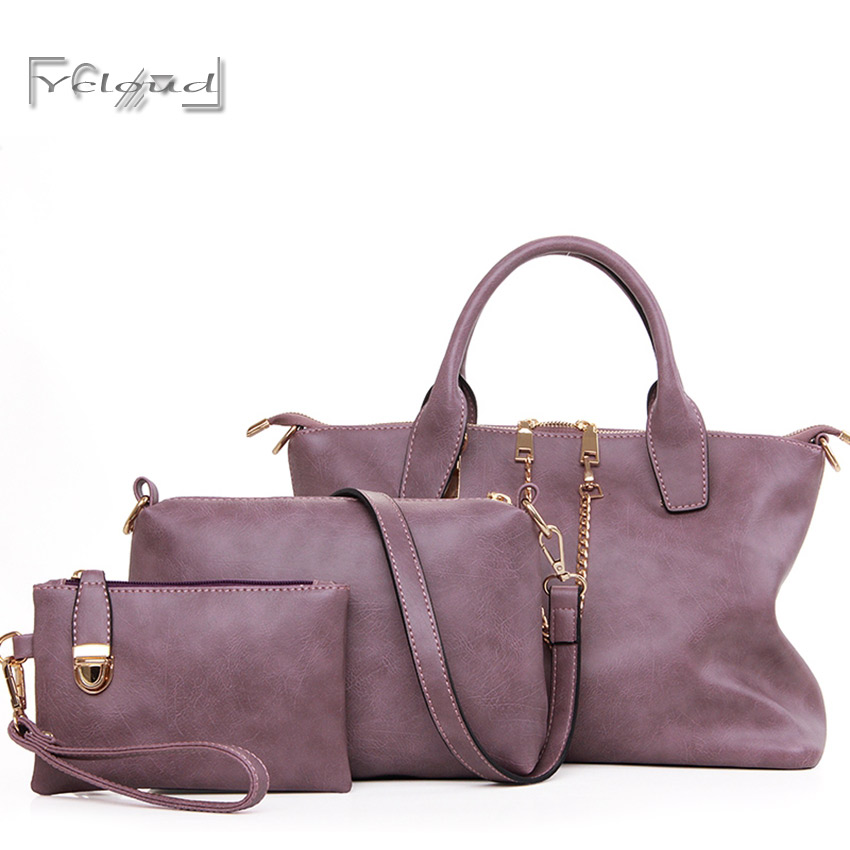 European and American fashion purple Big classic simplicity handbags high quality leather women messenger shoulder 3 sets bags