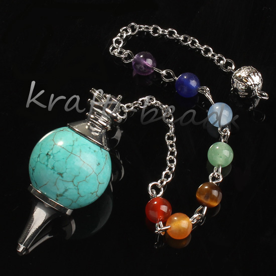 wholesale 10 Pcs fashion charming turquoise precious stone Silvery Metal Ball Chain Dowsing Healing Chakra Pendulum