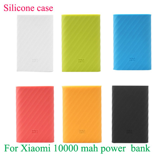 1pcs/lot 6 colors original Xiaomi power bank silicone case cover for xiaomi 10000mAh battery power bank(China (Mainland))