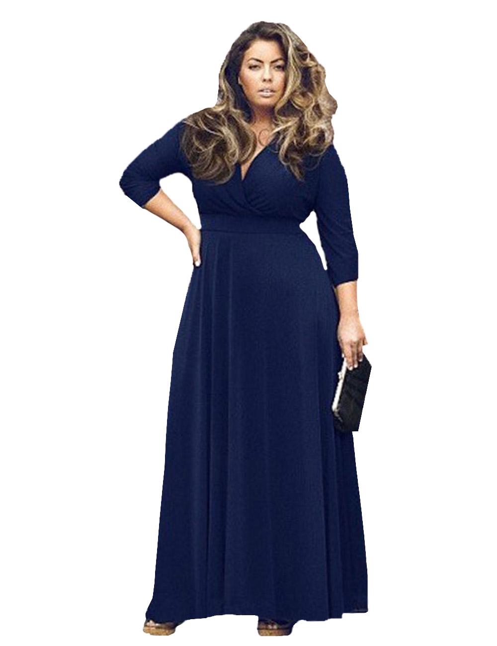 Plus Size Women Clothing 2015 New Autumn V neck Party Long ...