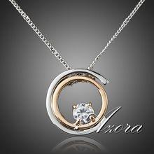 AZORA Classic Platinum Plated White Stellux Austrian Crystal Pendant Necklace TN0075(China (Mainland))