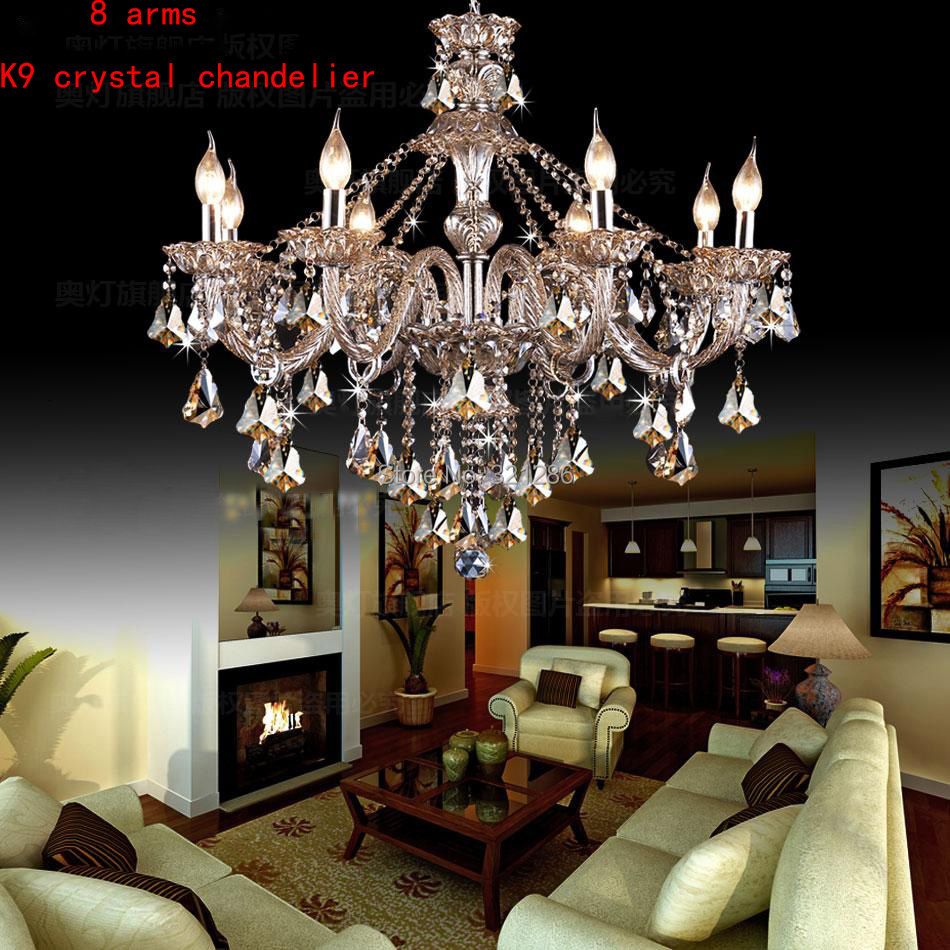 8 lights arm k9 hanging contemporary and modern chandelier