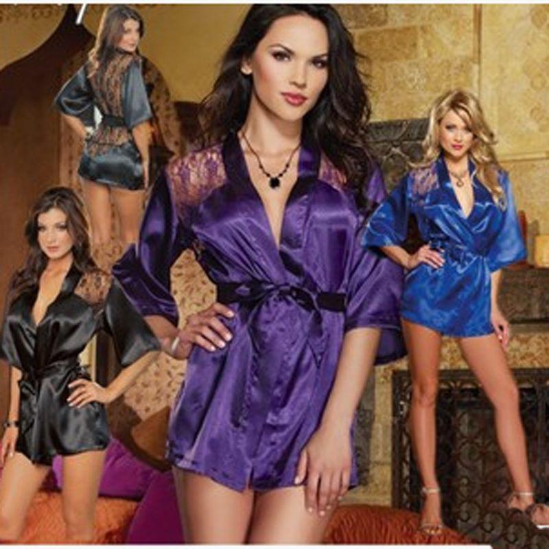 1 set Sexy Women Satin Lace Lingerie Nightdress Robe Sleepwear Nightwear Fit Multi Size ropa interior mujer(China (Mainland))