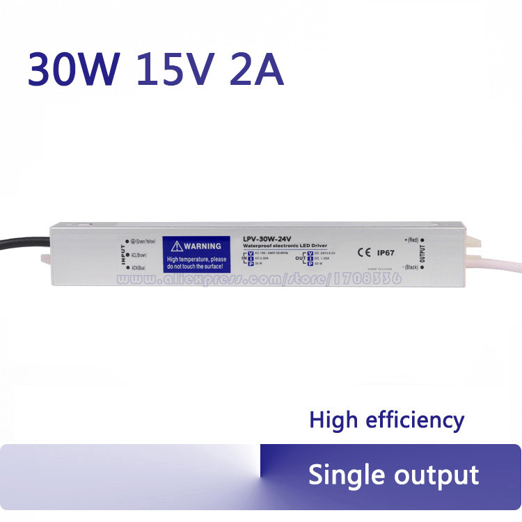 (LPV-30-15) 30W 15V 2A constant voltage waterproof switching power supply / LED driver