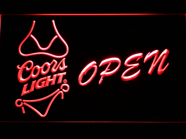 050 Coors Light Bikini Beer OPEN Bar LED Neon Sign with On/Off Switch 7 Colors to choose(China (Mainland))