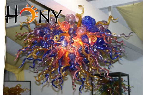 New Elegant Colorful Stained Hand Blown Glass Modern Led Chandelier(China (Mainland))