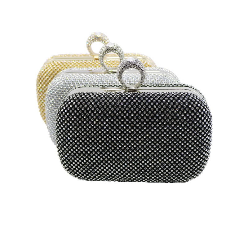 2016 Cheap Womens Evening Bag Gold/Silver/Black Ring Knuckle Clutch Bag Evening Purse With Rhinestone Crystal Evening Bags(Hong Kong)