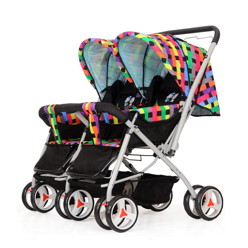 2016 New Design Baby Double Stroller 4 Optional Colors side-