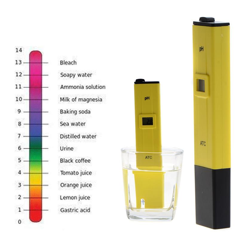 Pocket Pen Water PH Meter Digital Tester pH 0.0-14.0pH Aquarium Pool Water Laboratory Measurement Tool Yellow T15
