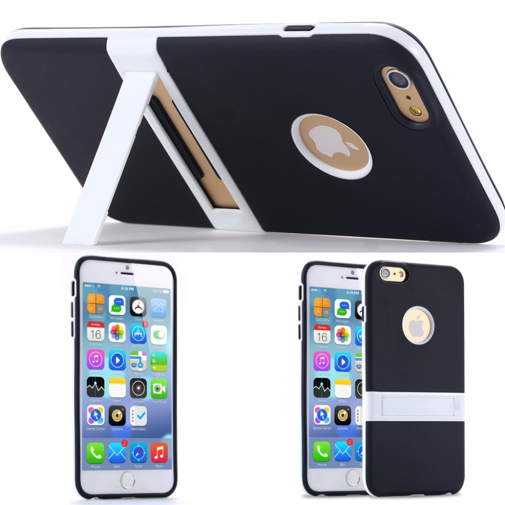 New Candy Color! Kickstand Soft TPU Case for Apple iphone 6 4.7/ Plus 5.5 Ultrathin Lovely Back Cover hole Logo +Body Stand Case(China (Mainland))