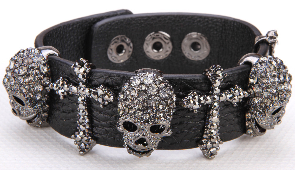 Black leather skull cross bracelet for women crystal adjustable bangle punk biker halloween jewelry LD03 wholesale 2015(China (Mainland))