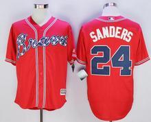 # 24 Deion Sanders Jerseys Atlanta Braves White Red Cream Blue size extra Small S M-4XL 58(China (Mainland))