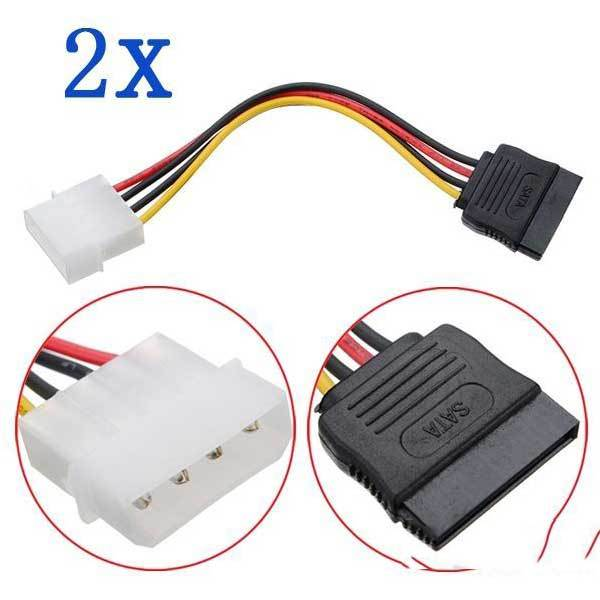 Bartooville 2X 4 Pin IDE Molex to 15 Pin Serial ATA SATA Hard Drive Power Cable(China (Mainland))