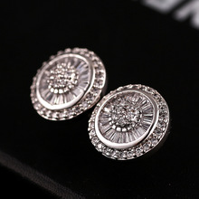 Winter woman earrings vintage jewelry rose gold plated AAA micro platinum earrings inlaid zircon luxury jewelry(China (Mainland))