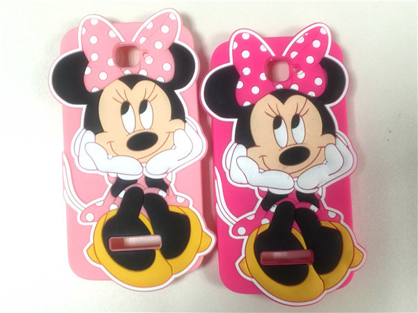 Alcatel One Touch Pop C7 7040D OT-7040 3D Cartoon Cute Minnie Rose Pink Soft Silicone Skin Case