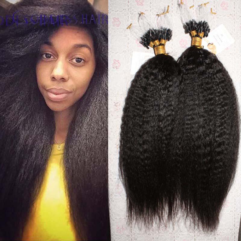 STOCK!brazilian virgin human hair kinky straight hair micro loop ring hair extension 1g/strand 100strand virgin human hair